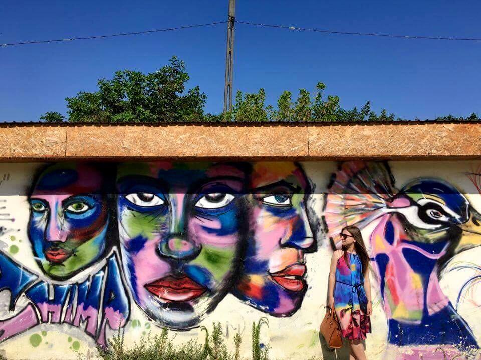 Graffiti realizat de Sergiu Androne, pe o anexă a Clubului Copiilor